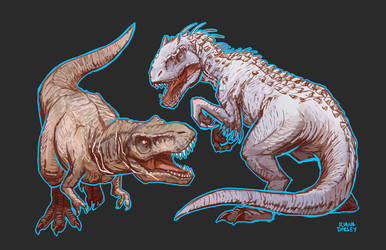 The Old Lady vs. the I. Rex by ArtByRiana