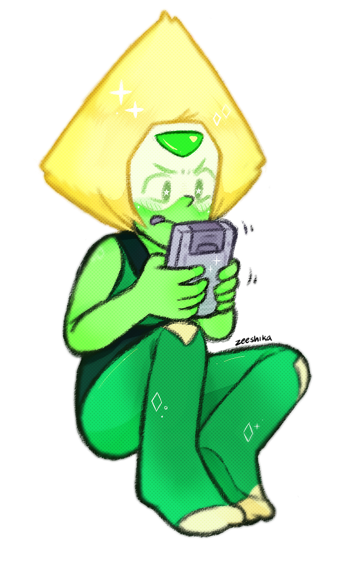 theres a gameboy in stevens bathroom!!! (this is kind of to make up for that less quality peridot drawing before) peridot (c) rebecca sugar art (c) me