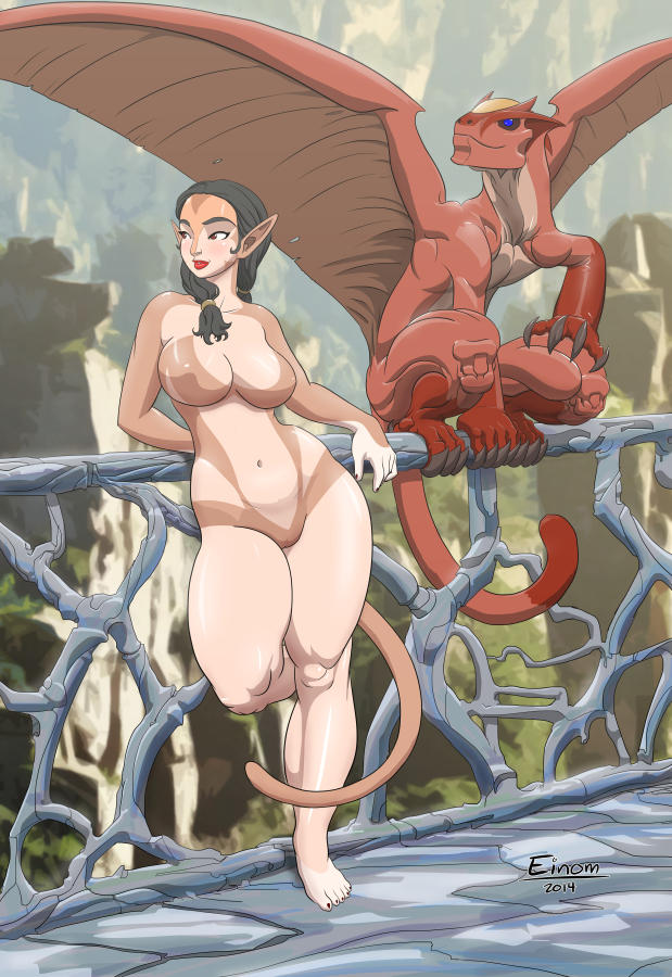 Mistress Wingtala and her pet dragon Jarritte by Einom