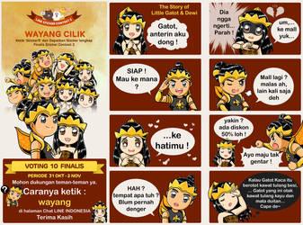 LINE STICKER - Little Gatot and Dewi, Wayang Cilik by Bob-Raigen