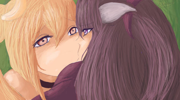 VRchat Bananabrea and Athena Kissing by Rixzenny