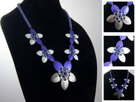 Purple Flower Drape Necklace by ChadRossArtwork