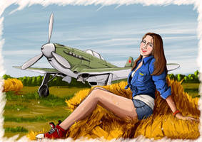 Girl and Yak-9 color by mrKorkee