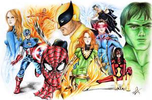 MARVEL HEROES by davidgozu