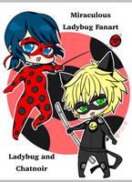 Chibi Miraculous Ladybug and Chatnoir Fanart by Yangster42
