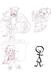 girl doodles by HamHamLuvsKirby