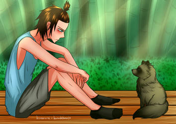 Collab w/ Kizourumi (sorta): A Boy and a Tanuki by kuraikitsune13