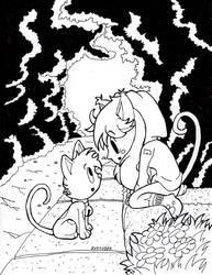 inltober Cat w Catgirl 28 by culdesackidz