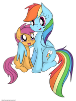 Rainbow Dash and Scootaloo by Leslers