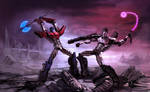 Optimus Prime vs Megatron: First battle by Naihaan