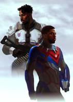 Human Optimus and Megatron (Killmonger - Tchalla) by Naihaan