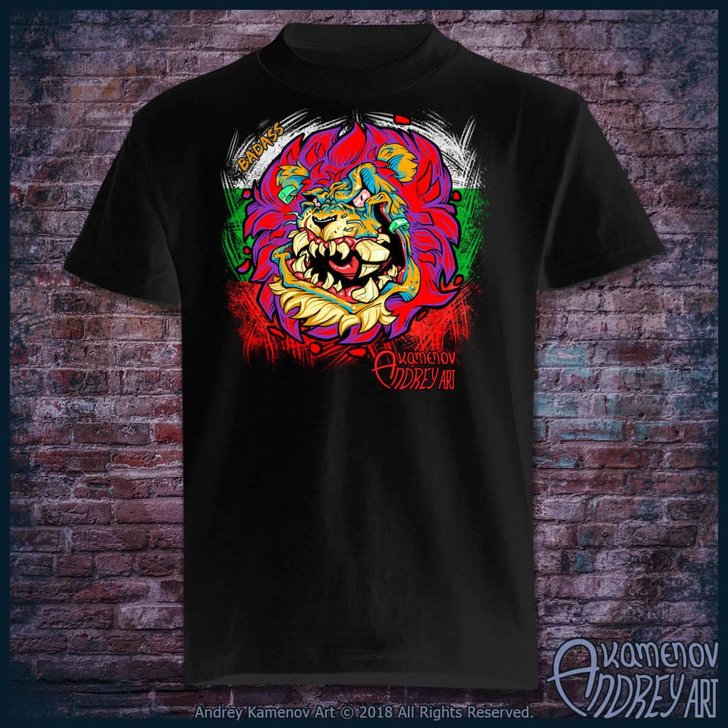 Badass Lion T-shirt BG by Lord-Dragon-Phoenix