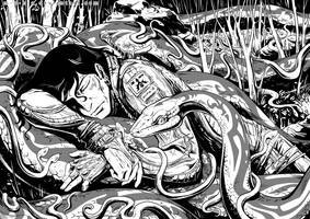 War and Mother Snake BW by m-u-h-a