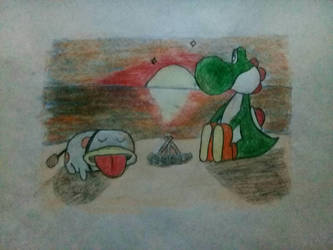 A bonfire on the beach (Yoshi and Poochy) by Psycho-Carlos