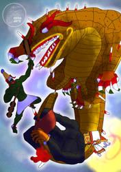 Tezcatlipoca y Quetzalcoatl contra Cipactli by Dyehuthy