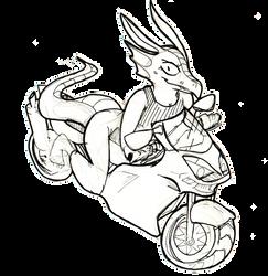 [DA-020] Western dragon riding a crotch rocket by Ameliorative
