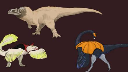 Rushed halloween dinos by SlippyTheSnake