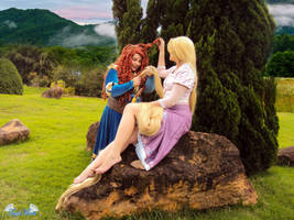 Merida and Rapuznel cosplay crossover by Angel--Arwen