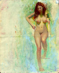 nude moleskine oil painting by rodluff