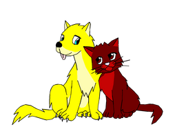 Request - Ash and Neko as Wolf and Cat by fuzzylittlekitty