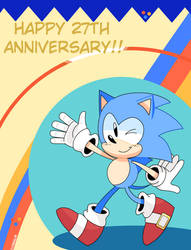 Happy 27th Anniversary , Sonic!! by cutieidel