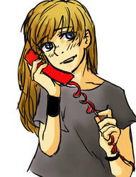 On the phone by Za-tsun