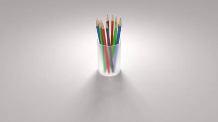 Minimalistic Colored Pencils Wallpaper by kahvi
