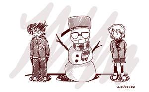 Conan, Ai and the snowman by Hamlichan