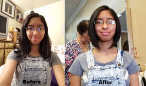 My new haircut before and after at Sep 13, 2016 by Magic-Kristina-KW