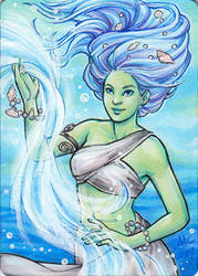 Water Elemental - metal card insert by AmyClark