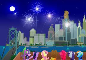 Fireworks Over Manehatten by OinkTweetStudios