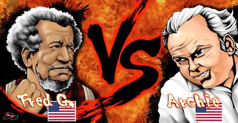 Mascot Mashup Fred Sanford vs Archie Bunker by lyonsartandmedia