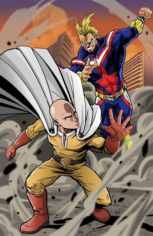 One Punch Man vs All-Might by lyonsartandmedia