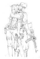 Helen with Artillery Luger Lineart by bmesias063