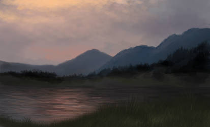 Sunset on the Mountainside  (Landscape Practice) by TurboSolid