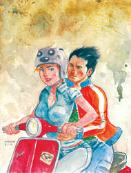 Sally and Danny on Vespa by astrobrain