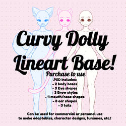 Curvy Dolly Lineart Base (PSD) by PastellettaArt