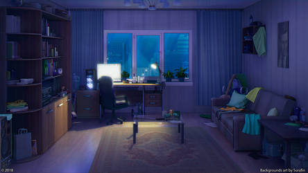 Living room night by Surafin