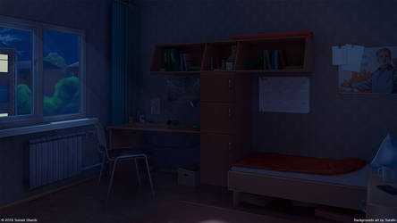Student room on hostel night by Surafin