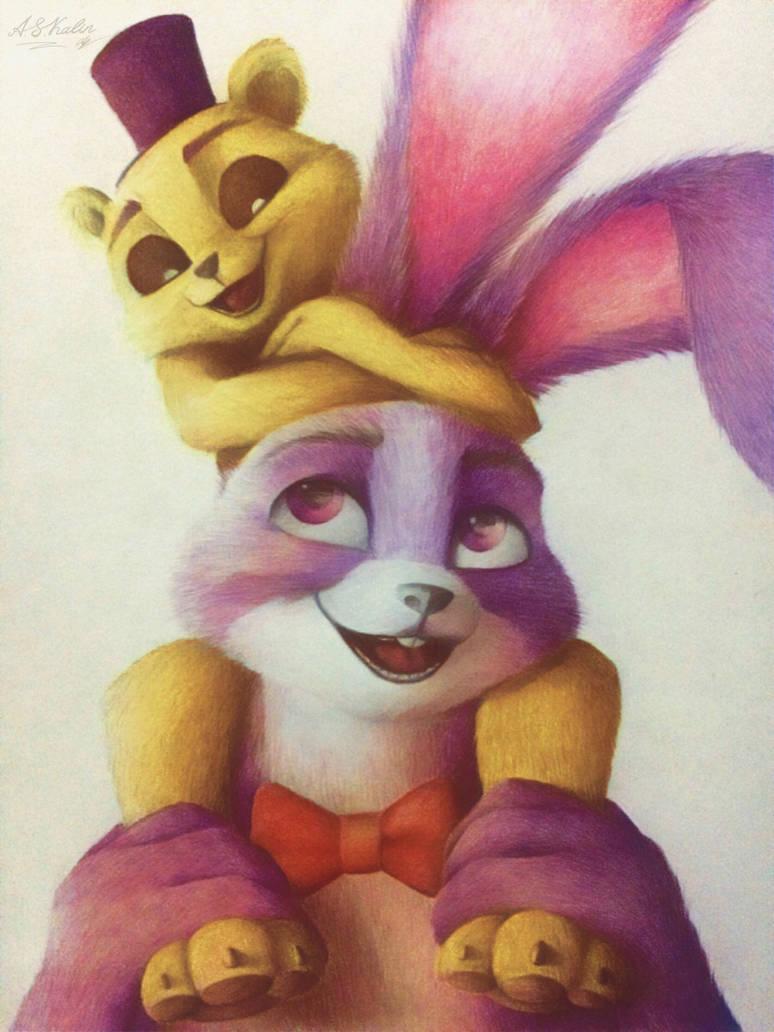 Bonnie and little Golden Freddy by AndrejSKalin