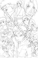 Naruto: Shippuden poster -line by h-ozuno