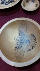 Hawk Pyrography Beech Bowl by ladyfireoak