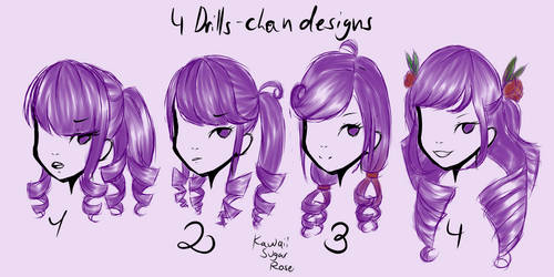 4 Drills-chan designs by KawaiiSugarRose