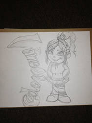 Sketch of Vanellope from wreck it ralph by cris32