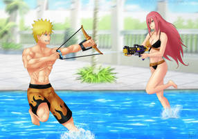 Commission: Naruto x Tayuya - Water fun by Amenoosa