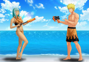 Commission: Naruto x Fuu - Water fun by Amenoosa