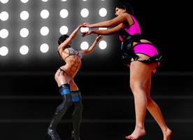 Strong vs big ring women catfight female wrestling by SavageSylva