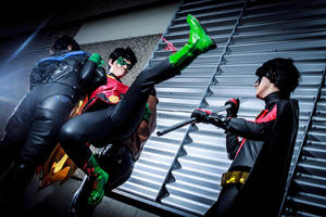 Batman: Batboys fighting by Kato-Yue