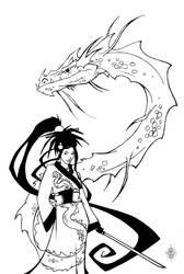 water dragon dress bw by djfreestyle