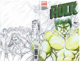 70's TV Hulk Sketch Cover - with a bit of green by SheldonGoh